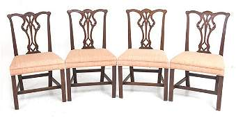 Set American Chippendale Ribbon Back Side Chairs