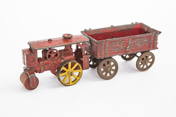 Cast iron steam roller and wagon circa 1920's