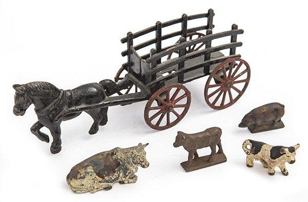 Cast Iron farm cart and assembled animals.