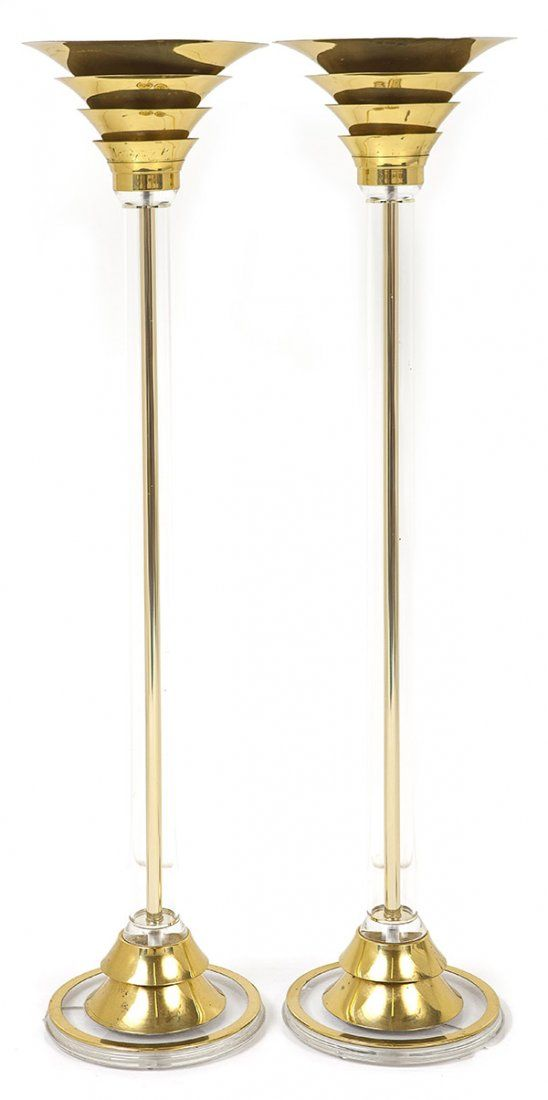 Lucite and Brass Floor Lamps