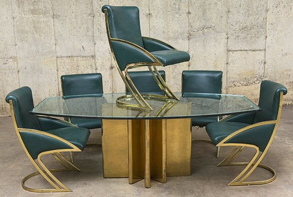 Milo Baughman Style Dining Table and Chairs