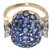 Ladys Sapphire and Diamond Ring