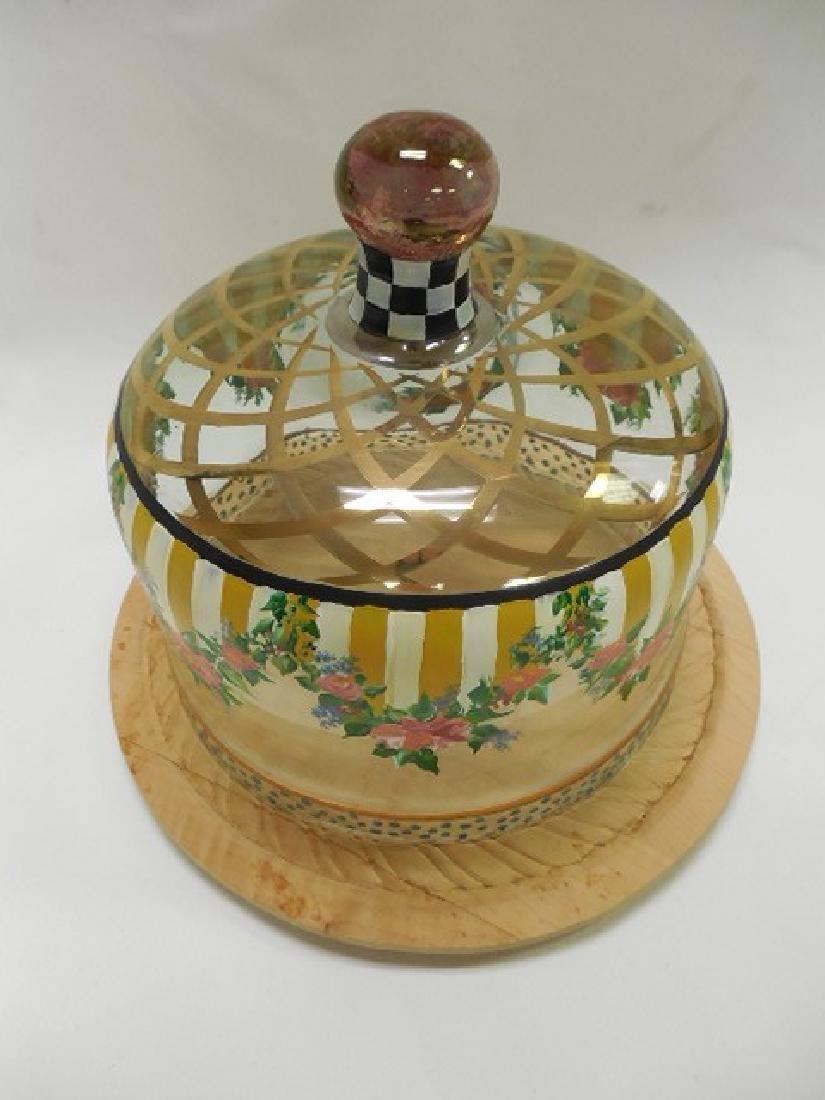 Mac Kenzie Childs Circus Cake Cover w/wood base - 2