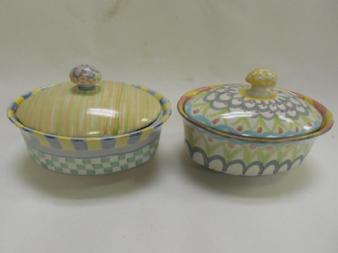 2 Mac Kenzie Childs Small Oval Covered Dishes