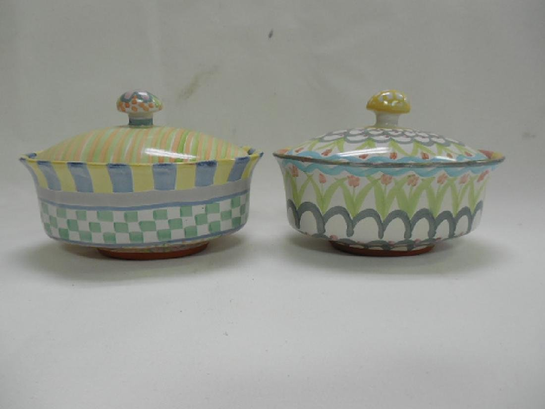 2 Mac Kenzie Childs Small Oval Covered Dishes - 2