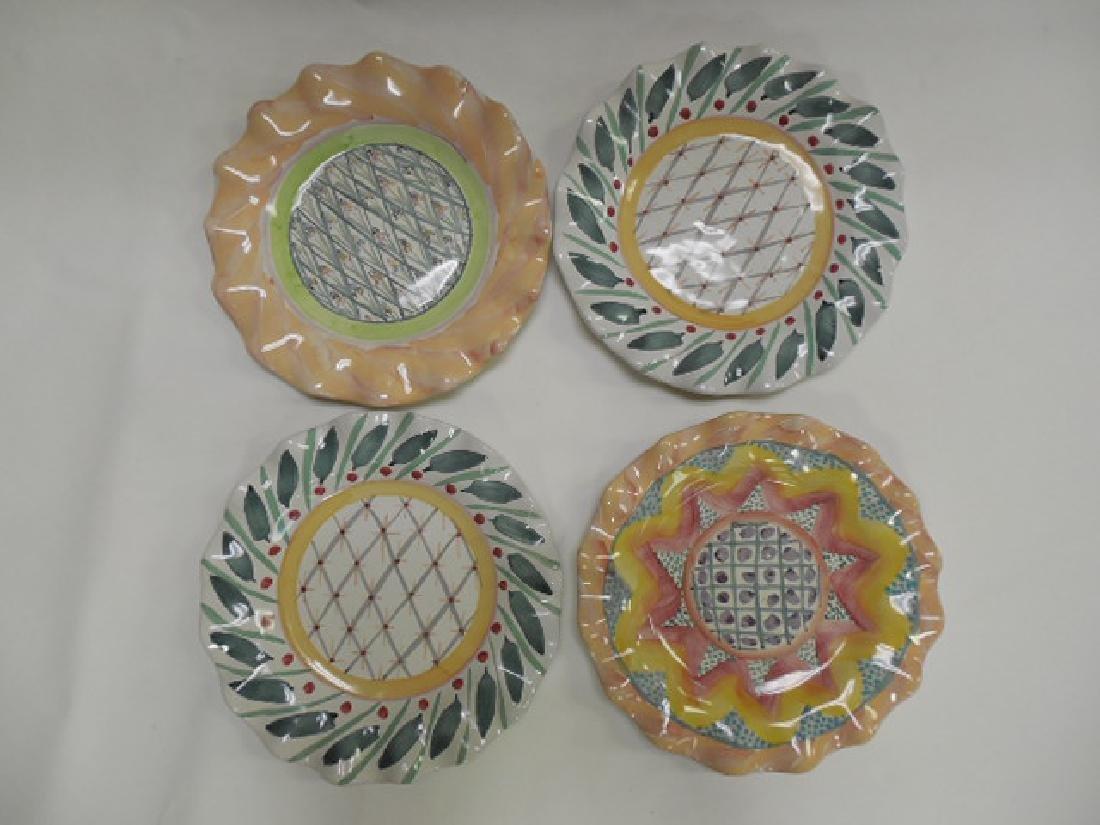 4 Mac Kenzie Childs Dinner Plates