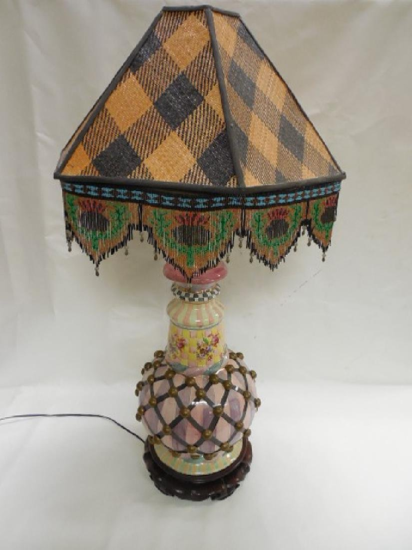 Large Mac Kenzie Childs Pottery Lamp w/Bird Finial