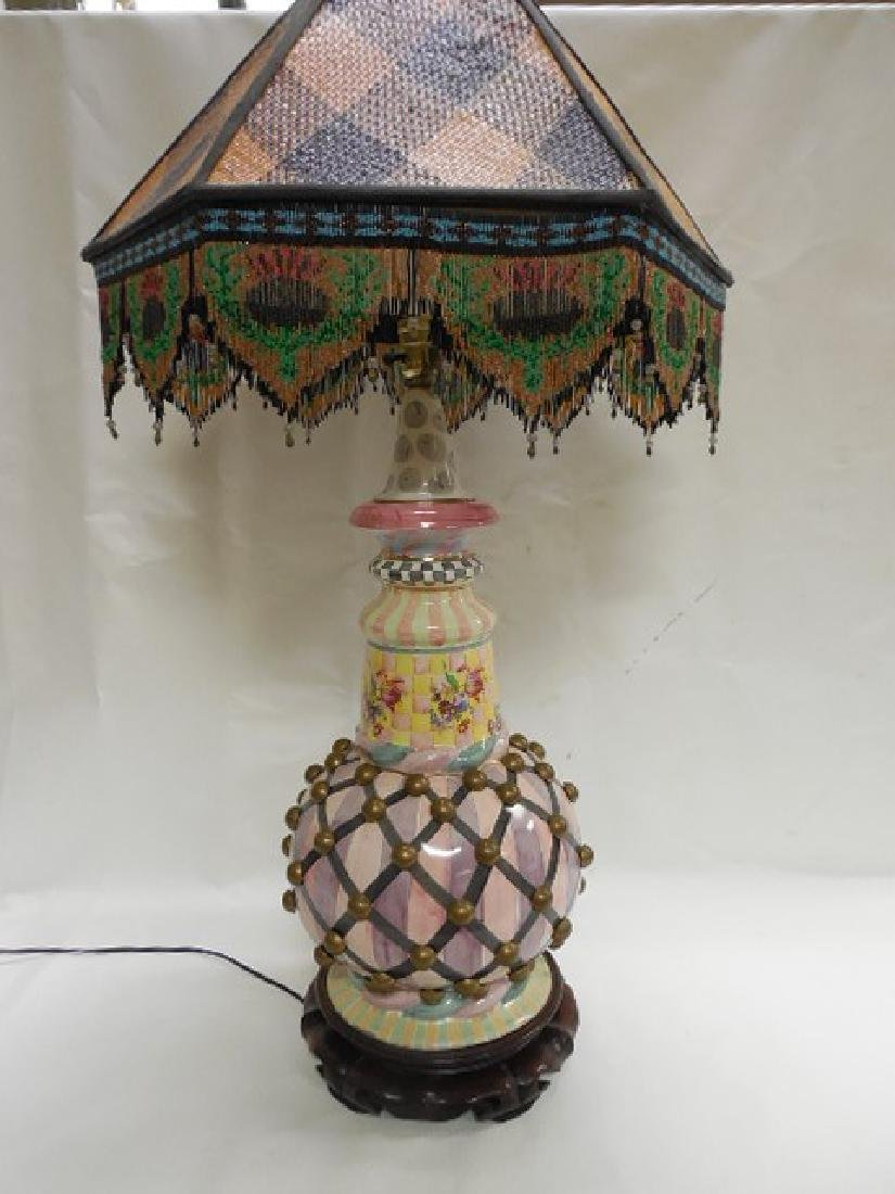 Large Mac Kenzie Childs Pottery Lamp w/Bird Finial - 2