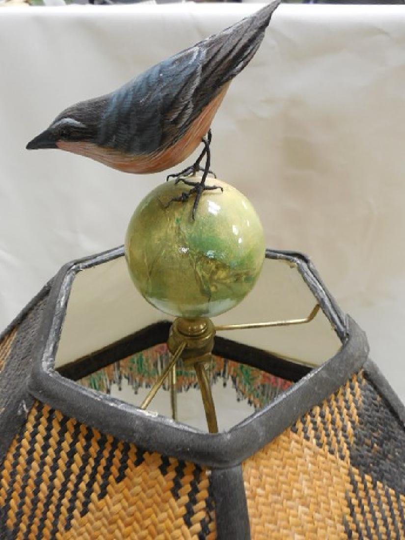 Large Mac Kenzie Childs Pottery Lamp w/Bird Finial - 3