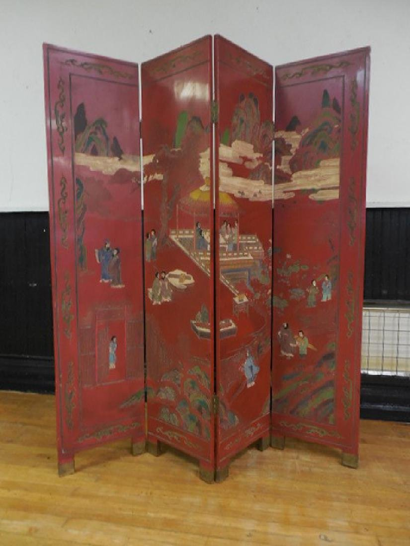 Red Chinese Room Screen