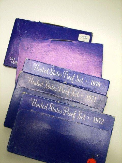10: Lot, 5 Proof sets 1968-72
