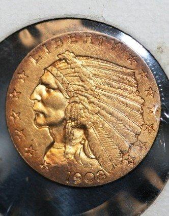 80: 1908 2.5 Dollar Gold Coin