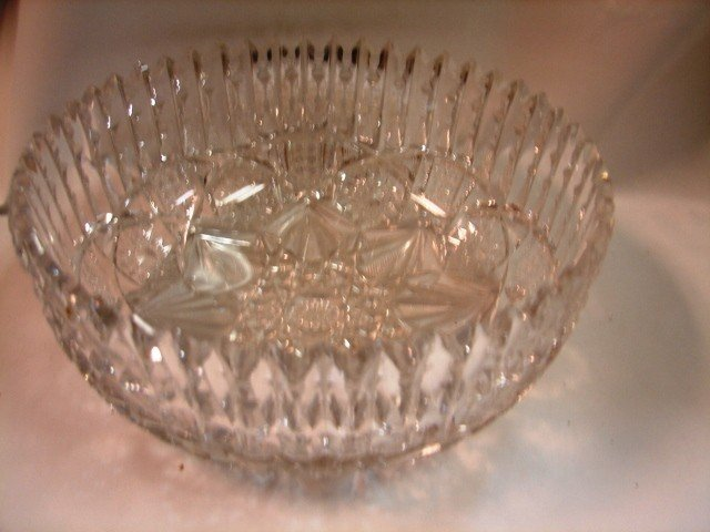 92: Cut glass bowl signed Libbey