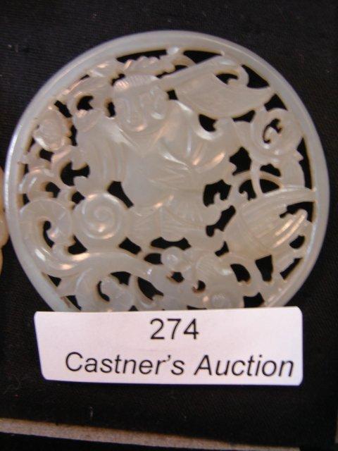 274: White Jade pendant - carved