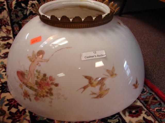 13: Victorian Milk glass, lamp shade