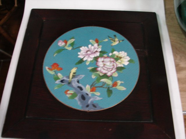 17: Cloisonne panel set in square mahogany panel