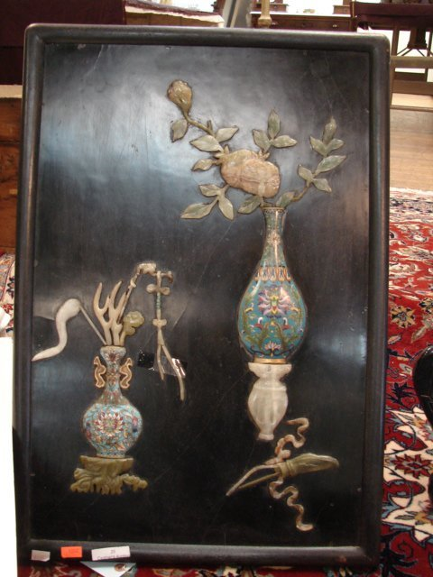 20: Qing Dynasty, Cloisonne and Jade panel
