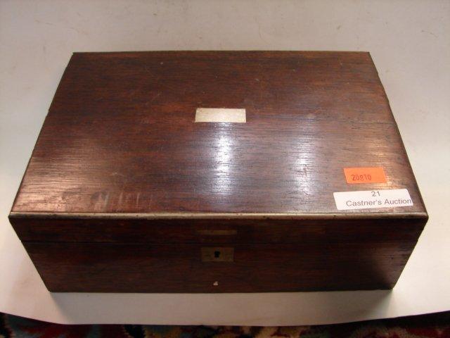 21: Small Wood Box w/silver inlay , 19th Cent, 9x3x6