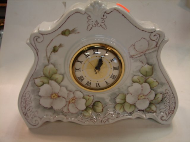 24: Handpainted Porcelain Mantle Clock