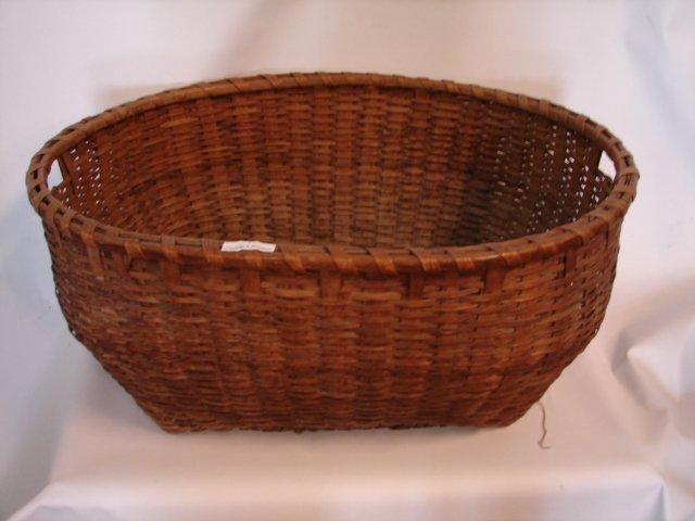 7: Antique Hand Made Clothes Basket