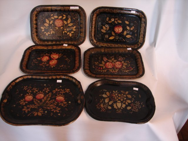 14: Six Toleware Trays