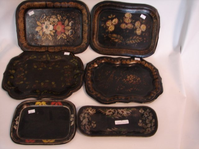 16: Six small toleware trays