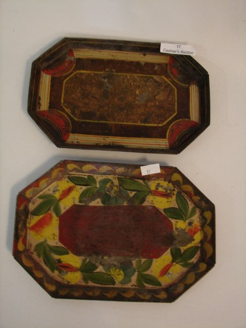 17: Two Small toleware trays