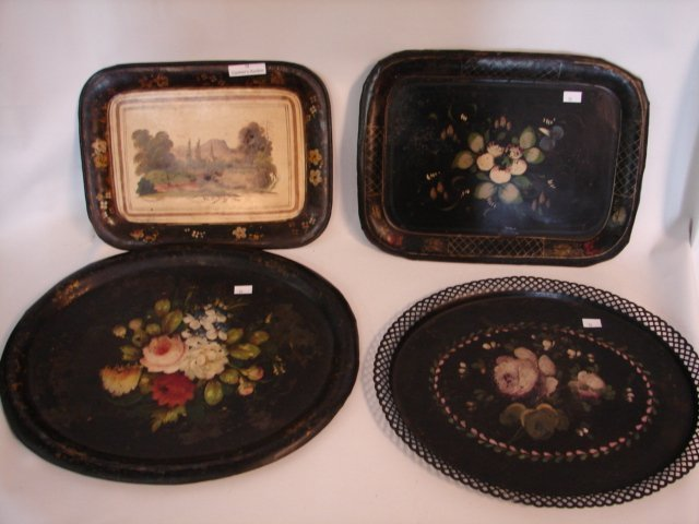 19: Four Toleware trays