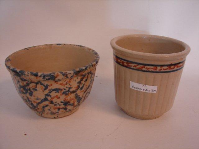 71: Red Wing & Spongeware bowl.