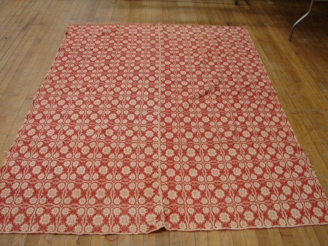 11: Overshot, red & white,  flower pattern,