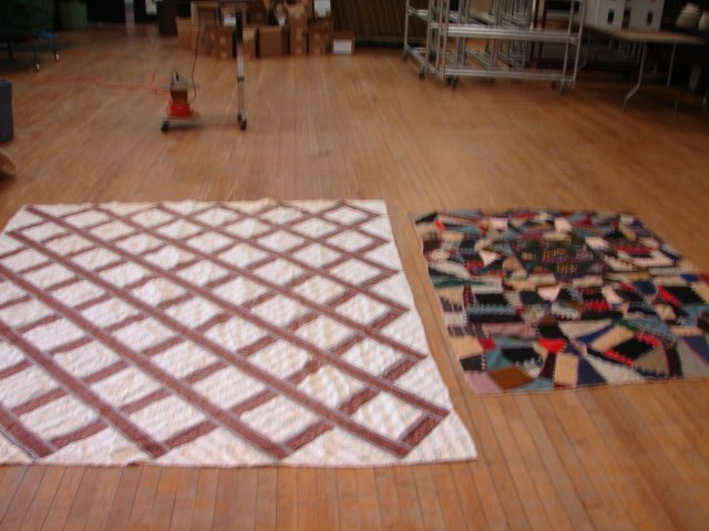 18: Lot of 2 Quilts, Crazy Quilt (silk + flannel) & Lat