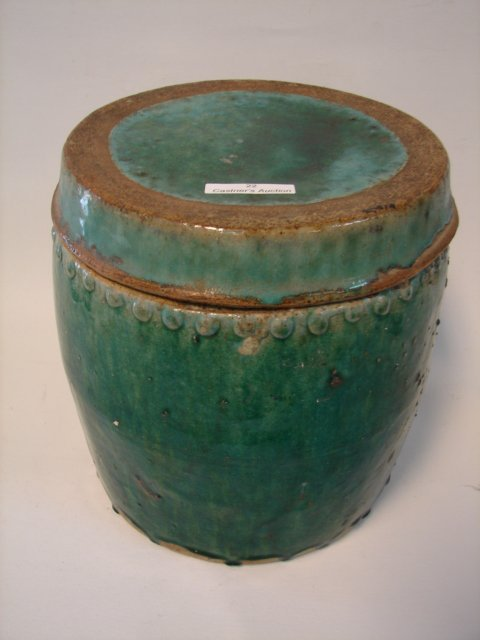 Covered Chinese pottery container