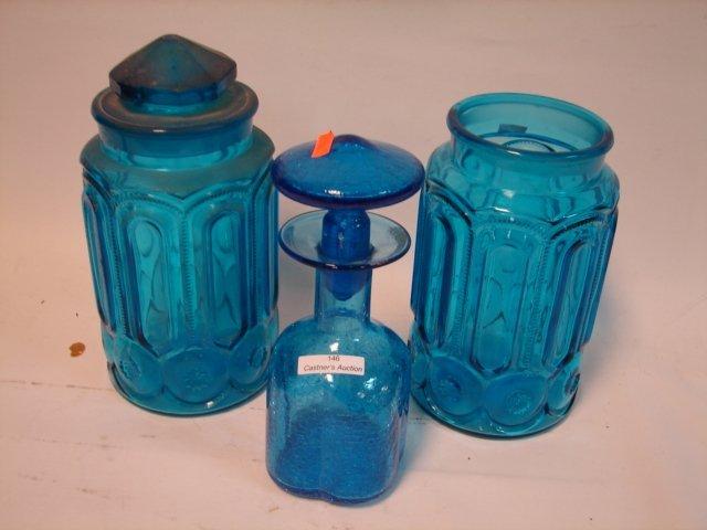 3 Blue Glass Pcs