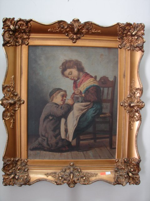 Oil Painting, Two Children