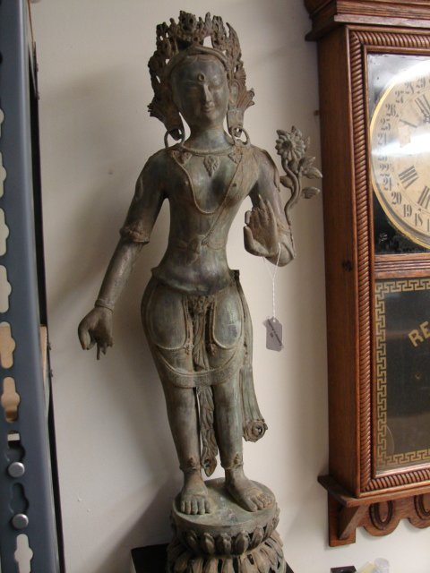 Large Asian Metal Goddess Figure