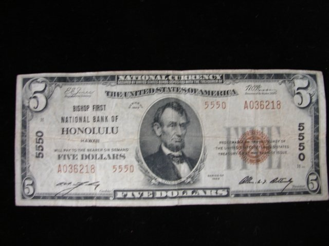 1929 $5 Honolulu Bank Note