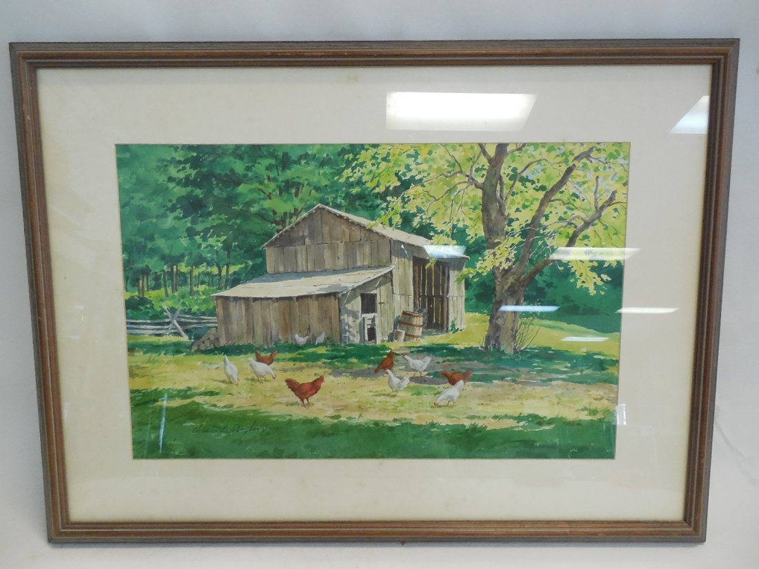 Watercolor Chickens in Yard by Charles Dougherty