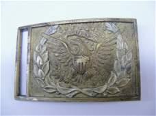 Civil War era Belt buckle with applied German Silver