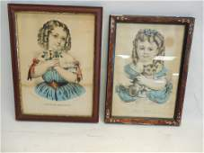 2 Currier & Ives Prints of Girls