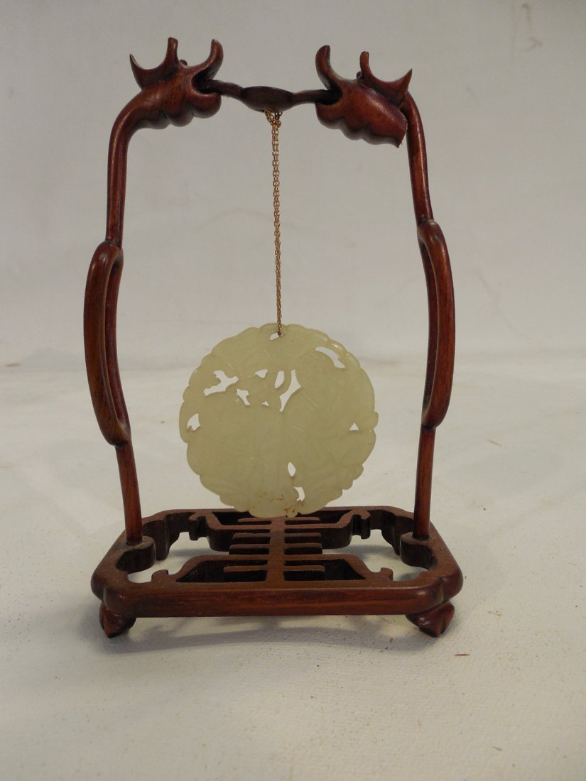 White Jade Pendant on stand w/Box