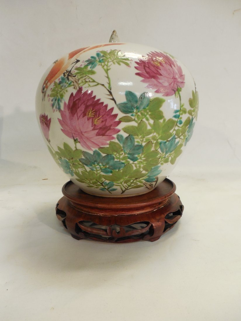 Large Chinese Covered Jar w/Stand