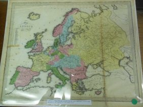 Hand Colored Map Of Europe 1848