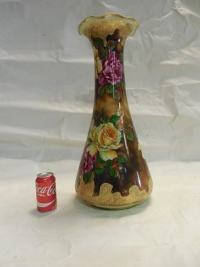 Large Hand Painted Nippon Floor Vase