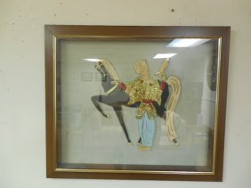 Vintage Wall Art - Lady W/horse & Parrot