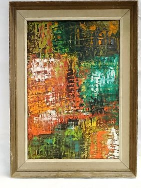 Mid Century Abstract Oil Painting On Board