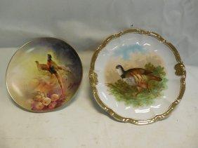 Limoges Pheasant Plate & Bavarian Bird Plate