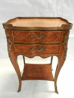 French Marquetry/inlaid 2 Drawer Stand