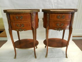 Pair (2) French Marquetry/inlaid Stands