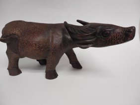 Chinese Carved Wood Water Buffalo