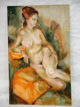 O/c Reclining Nude Figure Of Woman